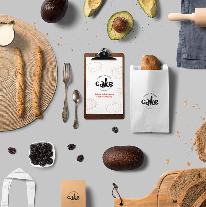 Cake World Bakery branding design, logo development